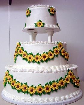 wedding cake with sunflowers - wedding cake with sunflowers