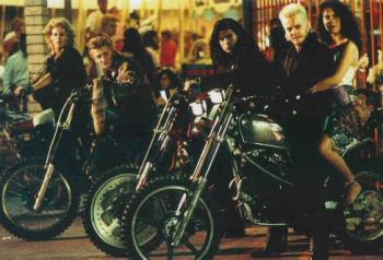 Lost Boys - I loved this movie i used to ride my 50cc motor bike with my mate on the back and we used to sing the song that played when they were going through the forest in the movie :)