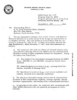 Defense Department Memo - Memo from the origionation of he internet