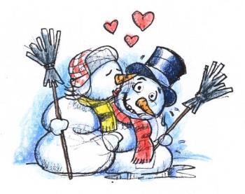 Kissing - A picture of two snowmen kissing. Really cute!
