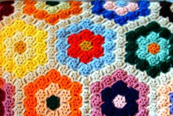 coins afghan - This is a close-up of the afghan I am making for my son this Christmas.