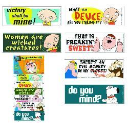 bumper sticker - the bumper stickers are on women,victory etc etc........