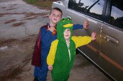My Boys - Dressed as Superman and a Frog
