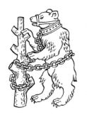 bear and ragged staff - symbol of Warwickshire, also a popular pub name!