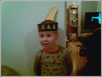 My baby - Keenens thanksgiving day hat he made at school :)
