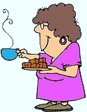 Responses,Discussions,people - picture of an elderly lady giving out a treat,for a good response.Dressed in a simple pinkish colored house dress and ole slippers, holding in her a hand a cake or brownie as a treat for someone, in the other hand a hot cup of coffee.