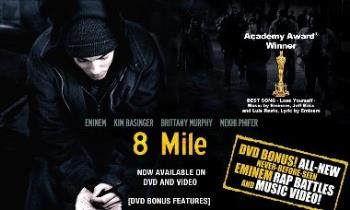 "Eminem - Splash picture of Eminems movie 8 mile where ""Lose Yourself"" is the soundtrack"