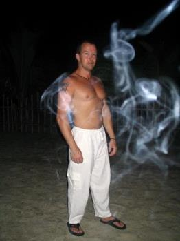 Big Bear the genie - prepped for a night out on beach Puerto Galera