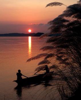 Settin sun at My river - sunset over river brahmaputra,assam,india