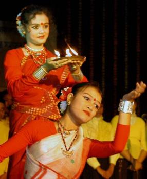Eyes of a beautiful dancers - classical assamese dance,india