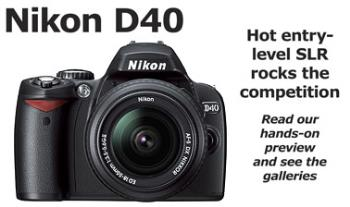 Camera - The Nikon D40 hasn't officially been announced, per se, but a de facto annoucement has come via Internet rumors and leaks on various photography sites, specifically a German retailer that mysteriously posted information about the phantom camera.