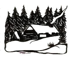snow and cabin - 100% hand cut out using only a pair of scissors.  Check out my animals and pets.
