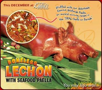 Lydia's Lechon - The Philippines most novelty food. Lechon is roasted pic on open fire pit of coals.It is marinated with herbs and sauces.FOr more info http://www.lydias-lechon.com/thelechon.html