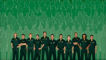 australian team - the australian cricket team in new green dress designed by ponting.