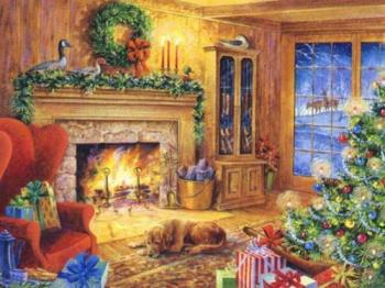 home for holidays - warm house with christmas tree
