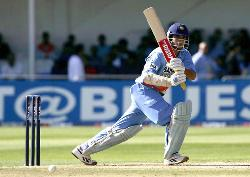hero of the indian cricket team,a genius left hand - saurav gaguly-batting in a match