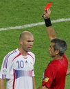 Ziinedine Zidane - Photo of referred showing Zidane the red card in the closing minutes of the 2006 World Cup final between France and Italy which the latter won.