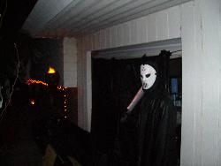 Halloween Scare - My son with his haunted house.