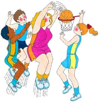 Girls Playing cartoon - Cartoon of girls playing Basketball