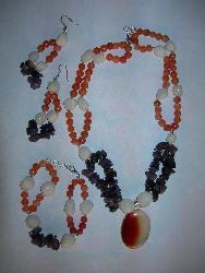 aventurine, agate, amethyst, onyx pendant - natural stone beads