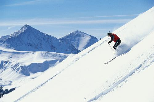 Skiing - Skiing down the mountain