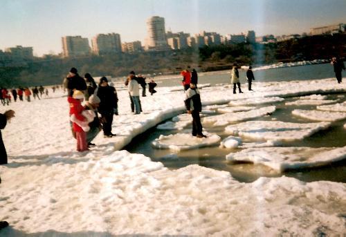 frozen sea - people on the ice