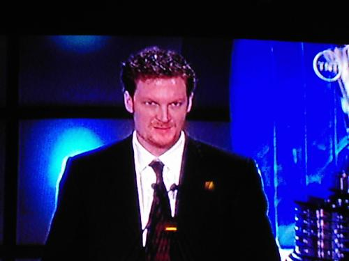 Dale Jr. - Picture I took of the tv while watching the Nascar Cup series awards..