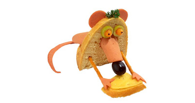 funny sandwich pic - Sandwich with a face and a black nose trying to make itself a sandwich.
