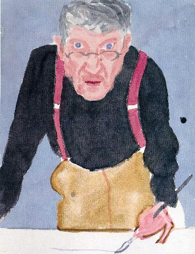 David Hockney -59 - The world famous painter David Hockney has always denied being a Pop artist but is included under this heading because this is how the public perceives him. The most highly publicized British artist since the Second World War, he occupies a position analogous to that which was once accorded to Augustus John - one irony of this being that for John's exuberant heterosexuality Hockney substitutes a publicly acknowledged homosexuality. He was born in Bradford in 1937, the fourth of five children. By the time he won a scholarship to Bradford Grammar School at the age of eleven he had already decided that he wanted to be an artist. He drew for the school magazine and produced posters for the school debating society as a substitute for homework. At sixteen he managed to persuade his parents to let him go to the local art school, and this was followed by two years of working in hospitals as an alternative to National Service, as he had registered as a conscientious objector. After this he went to the Royal College of Art in London to continue his studies, arriving there in 1959. (end 59)