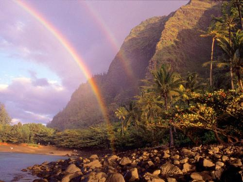 Double Rainbow, Kee Beach, Kauai, Hawaii - 1600x - Destination - Double Rainbow, Kee Beach, Kauai, Hawaii - 1600x............ Best locations from around the world ... Truly an adventurer's paradise...High Resolution Photography