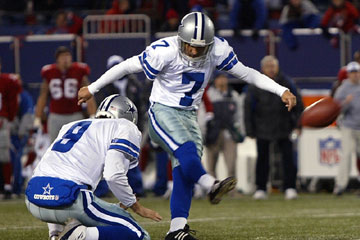 winning field goal - the winning field goal to take the lead over the giants with 1 second left placing the cowboys 2 games ahead for the divison