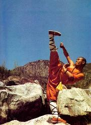 Shaolin Kungfu monk kicking in air - Shaolin monk demonstrate his skills