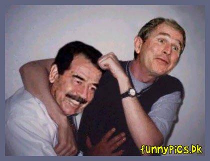 Saddaam and Bush - acting like brothers - Brotherly love