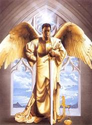 Archangels - An Archangel with his sword standing in an archway