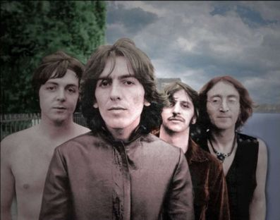 The Beatles - there goes George Harisson, the man in the center. So God really creates entities such as him? Isn't it a wonderful world to live in???