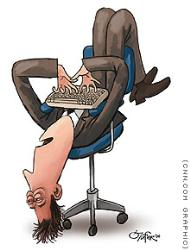 job satisfaction - cartoon image of an overworked employee in an office