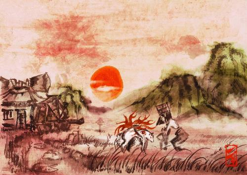 Okami - A scene from the PS2 game Okami