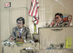 H.R. Hadelman on the Witness Stand  - This is a court room drawing by artist John D. Hart