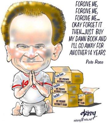 Pete Rose seeking Forgiveness - Caricature of Pete Rose seeking forgiveness for betting on baseball.