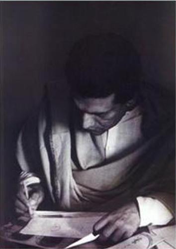 Young Satyajit Ray - Young Satyajit Ray, painting on a paper.