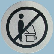 Do not stand! - Should signs like this tell men to sit down before they urinate?