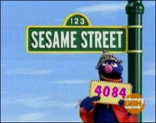 Sesame Street - Grover, standing right in front of sesame street sign.