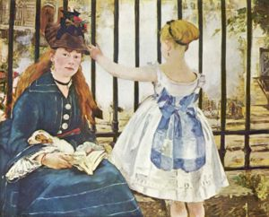 Painting by Manet - The Railway,a painting done by MAnet in 1872