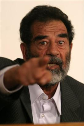 the former president of iraq,saddam hussein - this is a picture of saddam hussein during the trial by the us-iraqi government.
