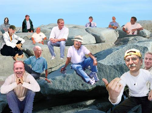 Rocksitting - This is a photo of the upper Bearskin Neck Rock Sitting Club.