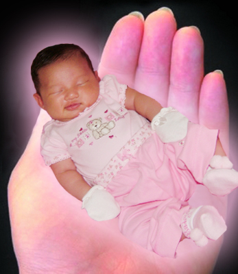 Baby Gia - My layout of Baby Gia sleeping in a hand.