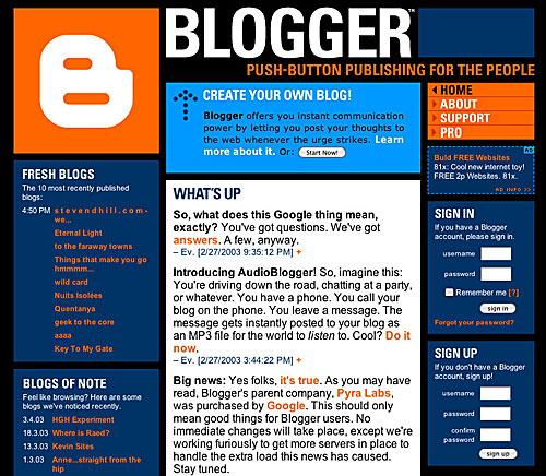 Blog.. - A picture of a blogger blog.