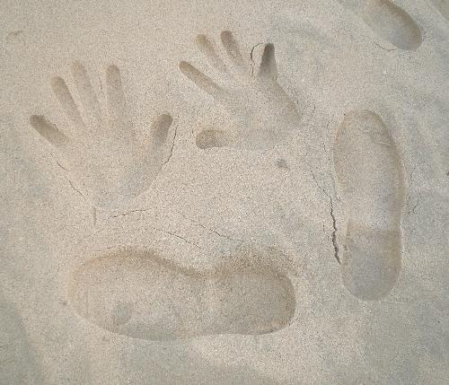 handprints in the sand - This is the handprints i have taken while on a beach holidays in one of the world renowned white sand beach in Philippines.