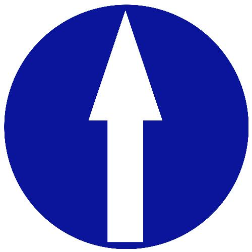 arrow pointing up - a blue circular road sign with a white arrow pointing up