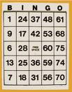 Bingo card - A bingo card used to play the game of bingo